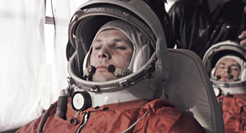 Yuri Gagarin and German Titov on their way to Baikonur Space Center