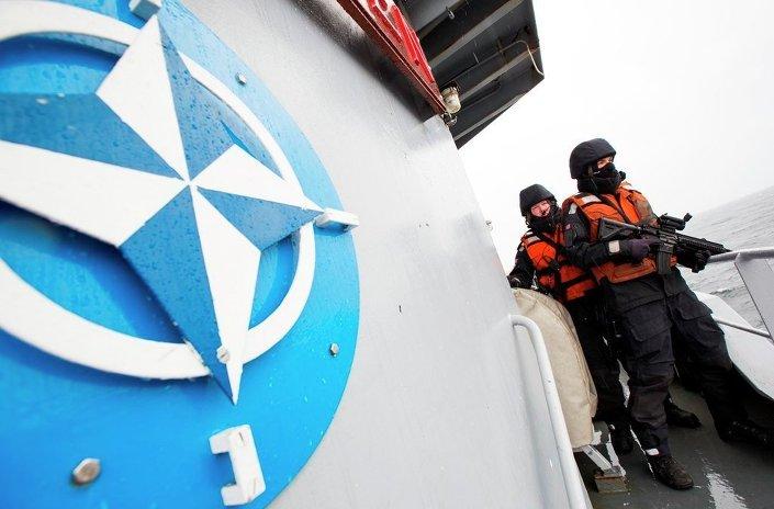 Two Norwegian sailors onboard the Norwegian support vessel Valkyrien