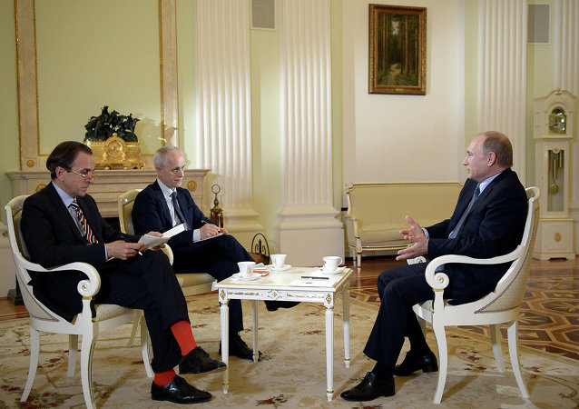 Russian President Vladimir Putin gives an interview to Italian newspaper Il Corriere della Sera ahead of his visit to Milan's exposition Expo Milano 2015 — Feeding the Planet, Energy for Life.