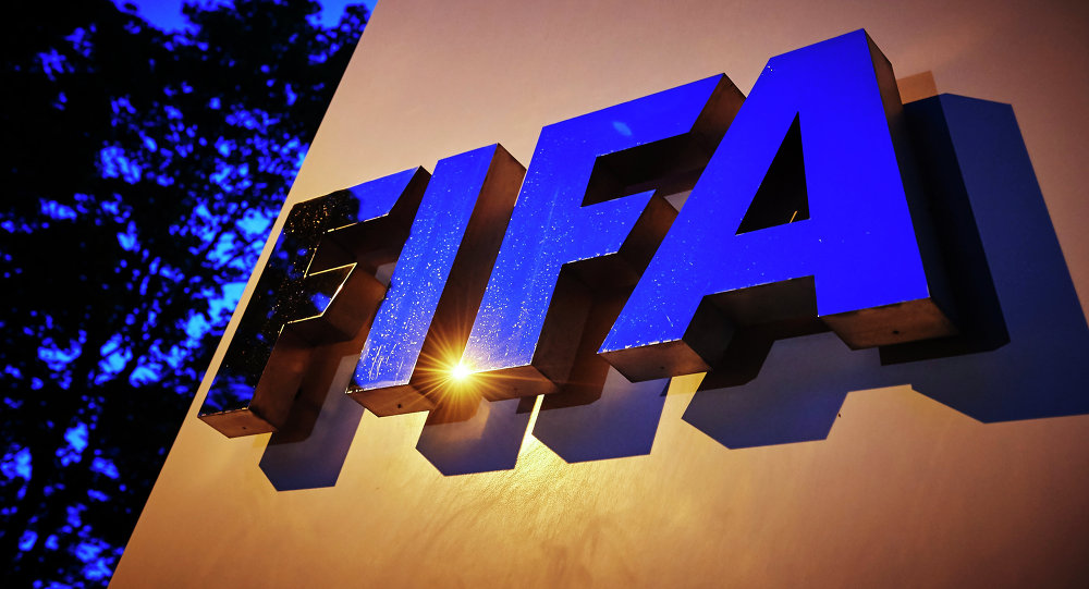 The FIFA logo is pictured at the FIFA headquarters on June 2, 2015 in Zurich.