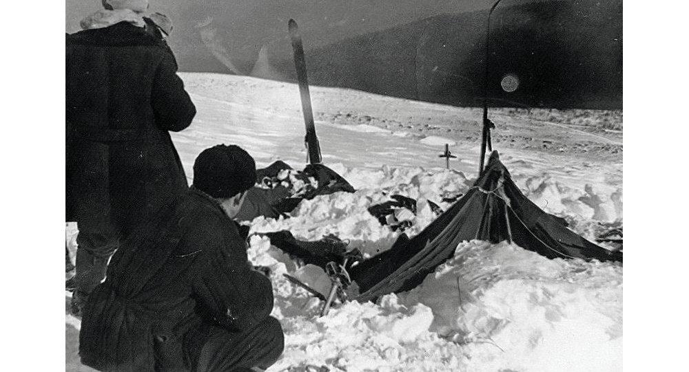 A view of the tent of the Dyatlov group as the rescuers found it on February 26, 1959
