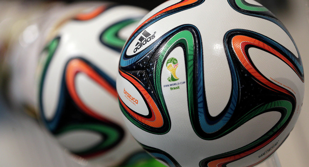 The adidas logo is printed on Brazuca, the official FIFA World Cup 2014 soccer ball