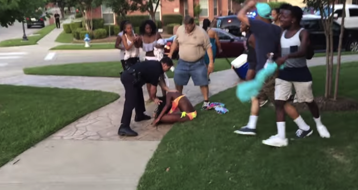 Screenshot of police who broke up a teen pool party