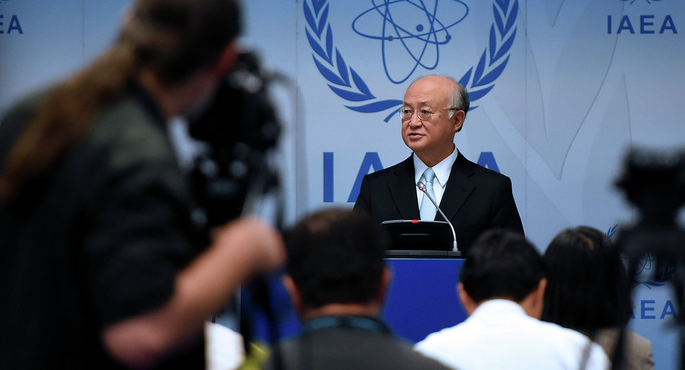 Yukiya Amano, director general of the International Atomic Energy Agency (IAEA) attends a press conference of the IAEA Board of Governors Meeting at IAEA headquarters in Vienna, Austria on June 8, 2015