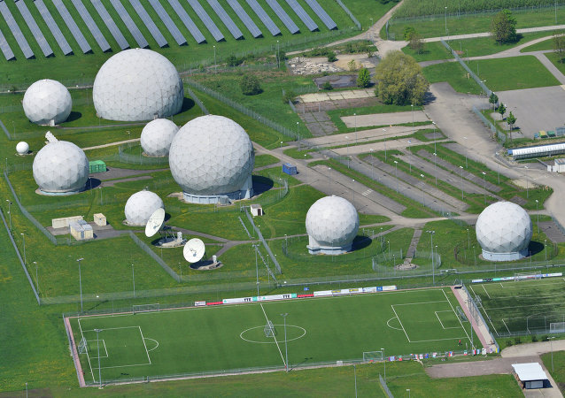 Aerial view taken on May 8, 2015 shows radar domes on the grounds of the German intelligence service BND's post in Bad Aibling, southern Germany