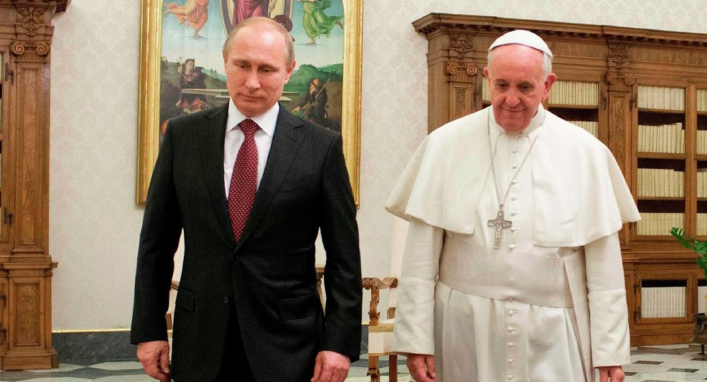 Pope Francis meets Russian President Vladimir Putin during a private audience at the Vatican, November 25, 2013