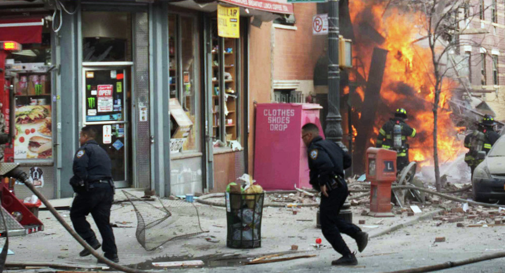 FILE - In this March 12, 2014 file photo, emergency crews respond to an explosion that leveled two apartment buildings and killed eight people in the East Harlem neighborhood of New York