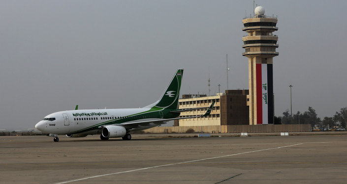 An Iraqi Airways plane arrives at Baghdad airport, Iraq, Tuesday, Jan. 27, 2015