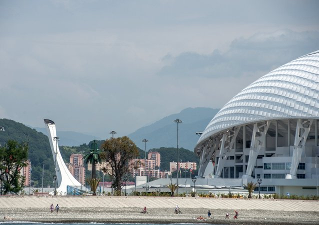 View of the Olympic Cauldron and Fisht Stadium in Sochi's Olympic Park.
