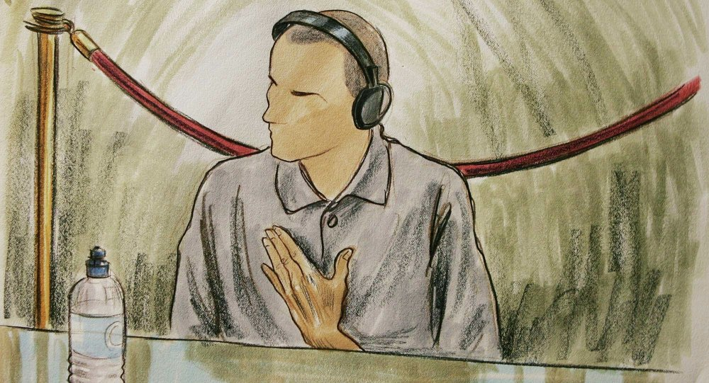 Courtroom sketch, Ali Hamza al Bahlul appears before a military commission at Guantanamo Naval Base in Guantanamo, Cuba. (File)