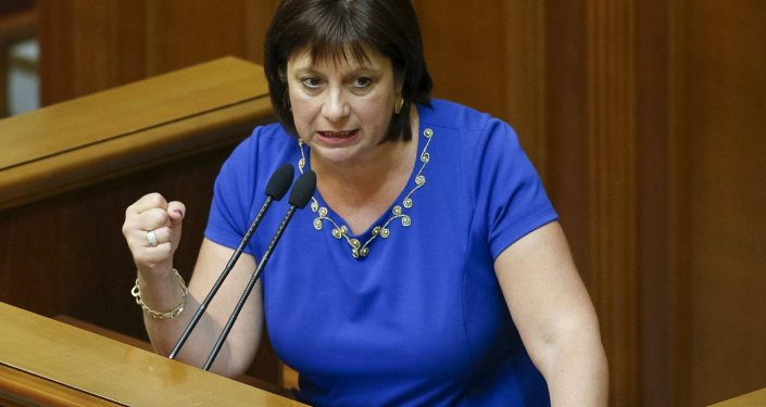 Ukraine's Finance Minister Natalia Yaresko speaks to deputies during a report for the fulfillment of the state budget in parliament, in Kiev, Ukraine, June 16, 2015