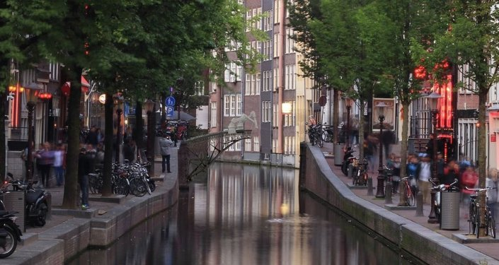 A rendering shows the future pedestrian bridge across an Amsterdam canal being 3-D printed by on-site robots