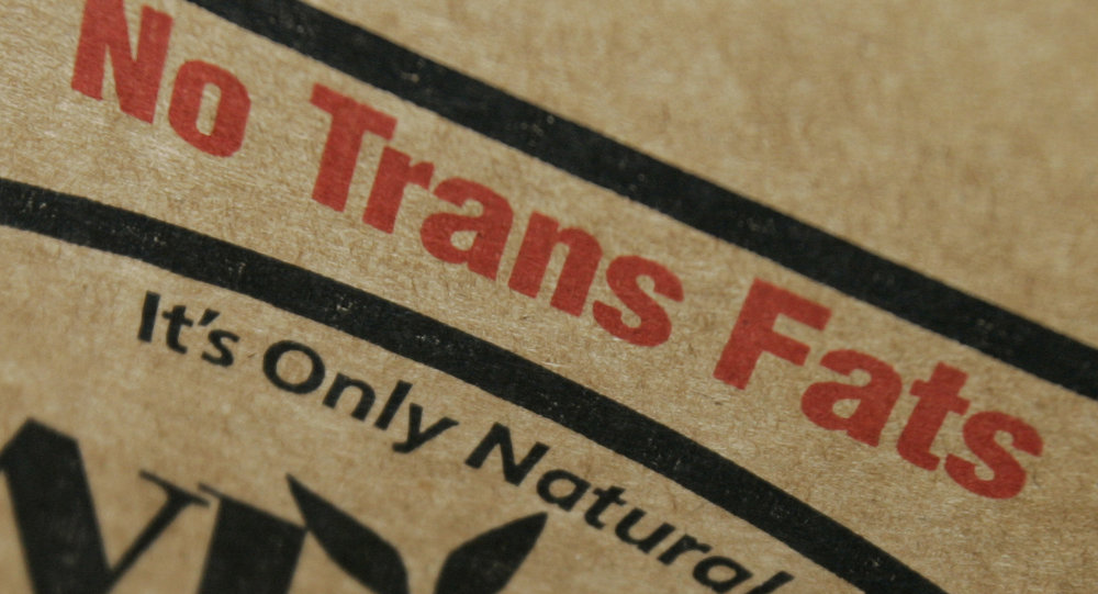 A label on a box of soybean cooking oil says it contains no trans fats