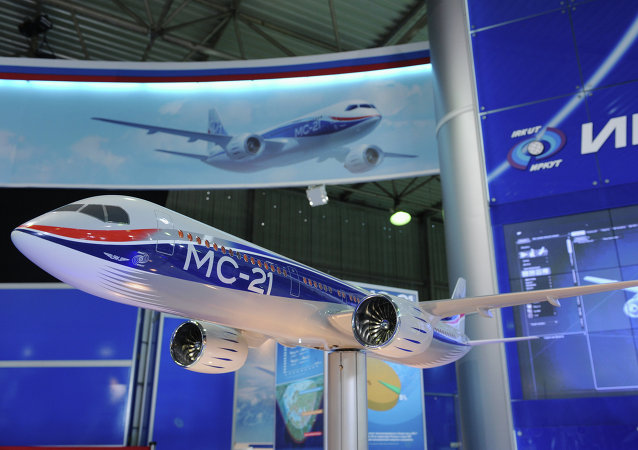 A scale model of the UAC MS-21 short and medium-haul airliner