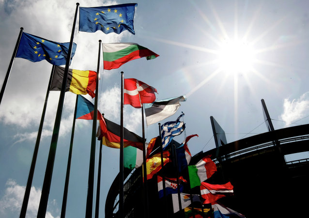 Flags are seen at the European Parliament.