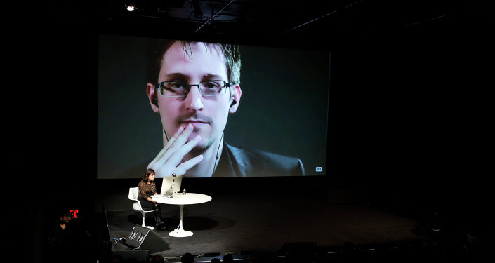 Edward Snowden talks with Jane Mayer via satellite at the 15th Annual New Yorker Festival on Saturday, Oct. 11, 2014 in New York