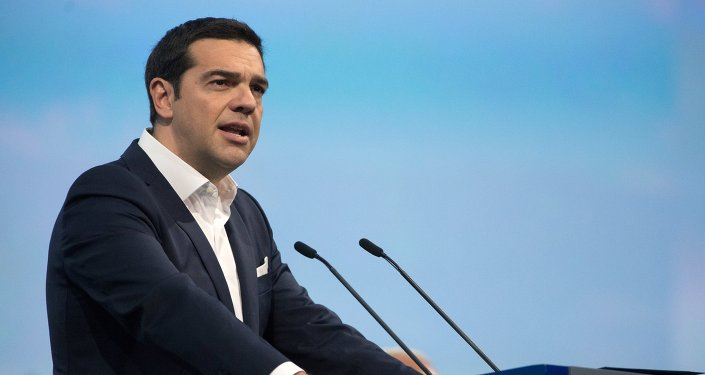Greek Prime Minister Alexis Tsipras during the plenary meeting of the 19th St. Petersburg International Economic Forum 2015.