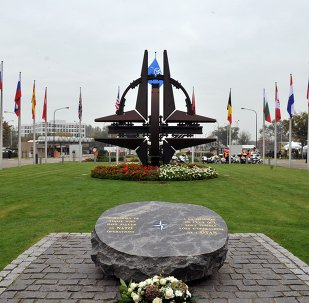 General view of the NATO main entrance on October 14, 2010 at NATO headquarters in Brussels