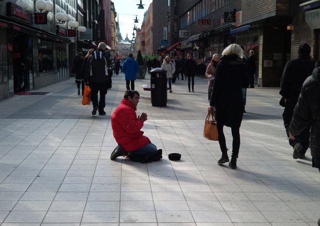 Beggar in Stockholm