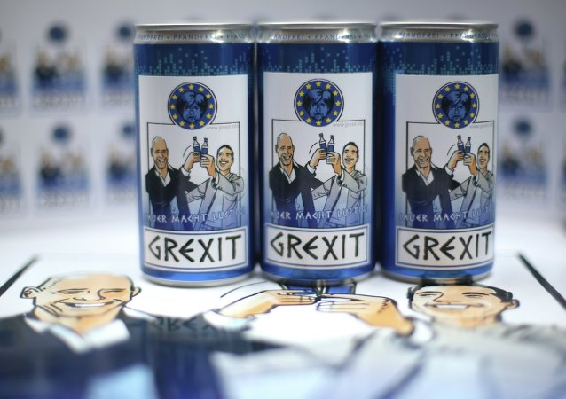 Bottles and cans of vodka lemon Grexit