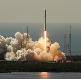 An unmanned SpaceX Falcon 9 rocket launches from Cape Canaveral, Florida