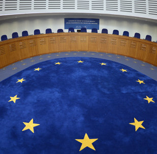 Picture taken on April 23, 2015 shows the audience room of the European Court for Human Rights, in Strasbourg, eastern France