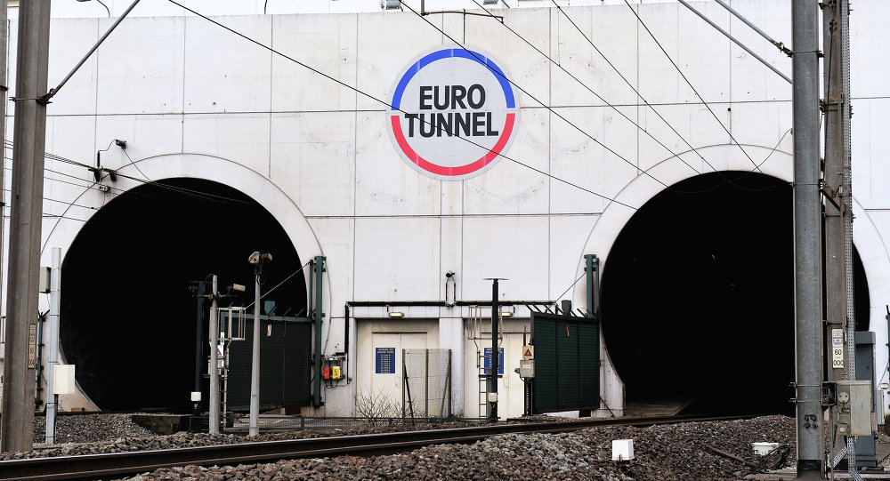 A picture taken on February 10, 2014 near Coquelles, northern France, shows the entrance of the Eurotunnel. File photo
