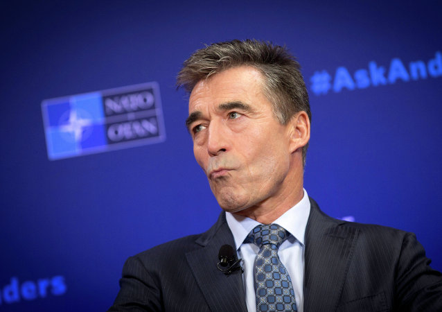 NATO Secretary General Anders Fogh Rasmussen pauses before speaking during a Carnegie Europe think tank event at the Bibliotheque Solvay in Brussels on Monday, Sept. 15, 2014