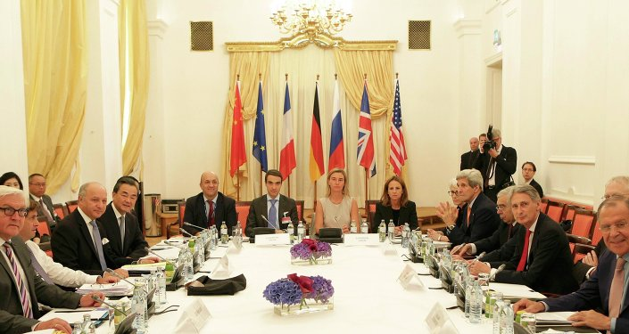 German Foreign Minister Frank-Walter Steinmeier (L) French Foreign Minister Laurent Fabius (3rd L) Chinese Foreign Minister Wang Yi (4th L) European Union High Representative for Foreign Affairs and Security Policy Federica Mogherini (centre row, 2ndR) U.S. Secretary of State John Kerry (4th R) British Foreign Secretary Philip Hammond (3rd R) and Russian Foreign Minister Sergey Lavrov (R) meet in Vienna, Austria