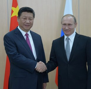 President of the Russian Federation Vladimir Putin (right) and President of the People's Republic of China Xi Jinping during their meeting in Ufa.