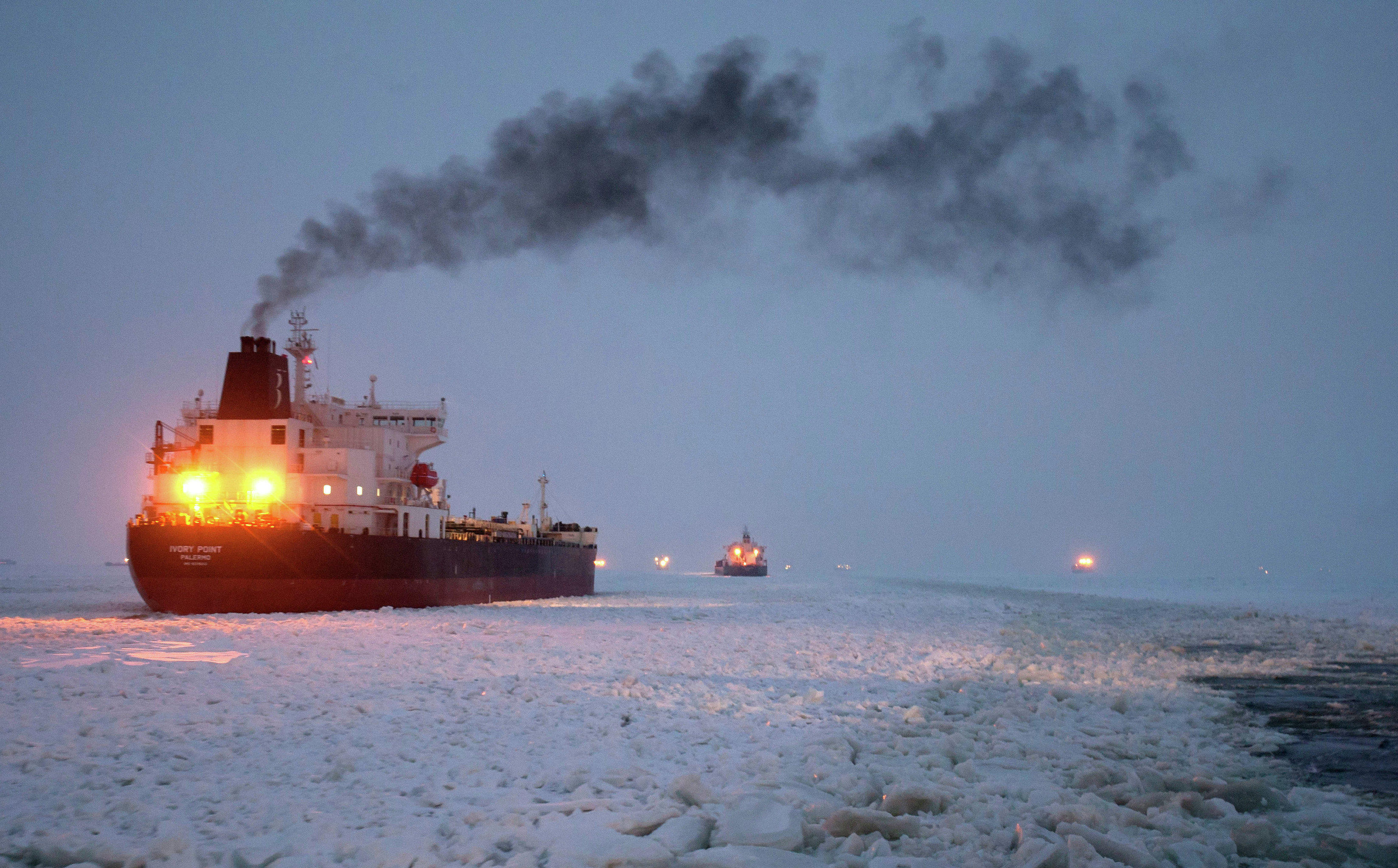 Vaigach nuclear icebreaker leading ships through Gulf of Finland