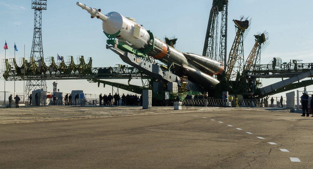 Installation of the rocket of space appointment (RSA) Soyuz-FG with the transport piloted ship Soyuz TMA-16M on a starting complex of the Baikonur spaceport