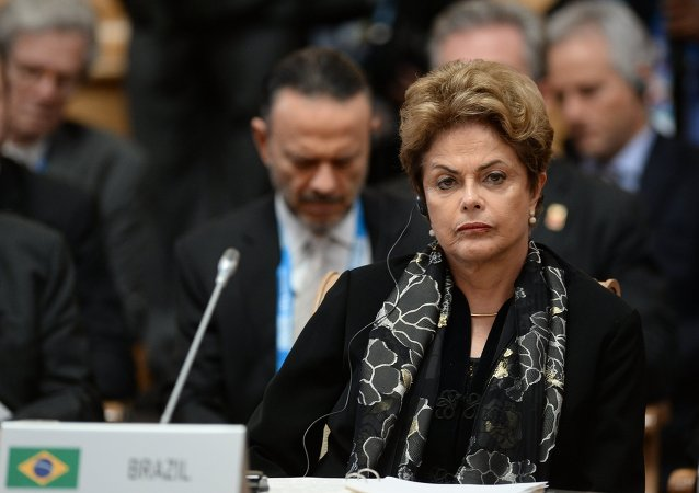 President of the Federative Republic of Brazil Dilma Rousseff at a BRICS leaders expanded meeting