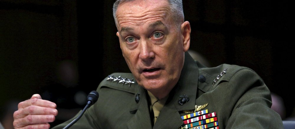 Marine Corps General Joseph Dunford testifies during the Senate Armed Services committee nomination hearing to be chairman of the Joint Chiefs of Staff on Capitol Hill in Washington, July 9, 2015