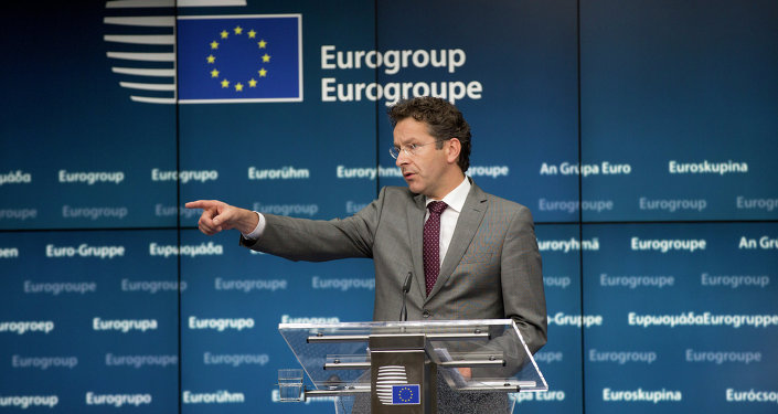 Dutch Finance Minister and chair of the eurogroup Jeroen Dijsselbloem speaks during a media conference after a meeting of eurogroup finance ministers in Brussels on Saturday, June 27, 2015