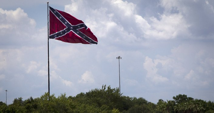 A large Confederate battle flag flies above highway 75 in Tampa Bay, Florida June 24, 2015