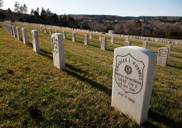 This photo taken April 13, 2015, shows the cemetery outside Battle Mountain Sanitarium, the Veterans Affairs hospital in Hot Springs, S.D.