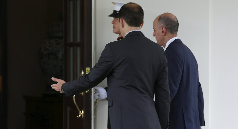 Saudi Foreign Minister Adel al-Jubeir (R) arrives at a meeting with U.S. President Barack Obama at the White House in Washington July 17, 2015
