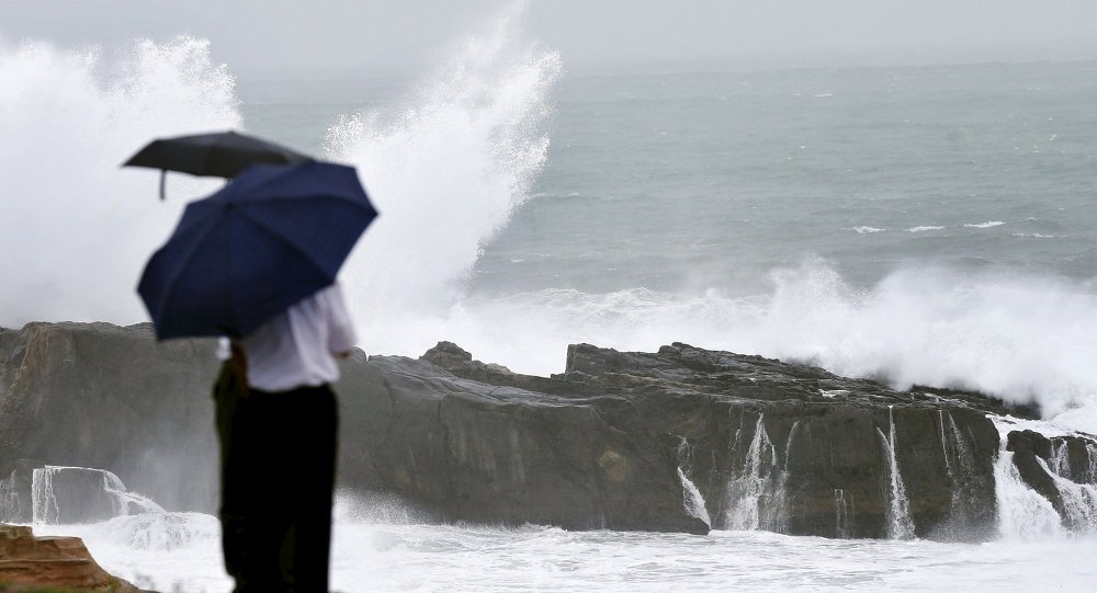 High waves caused by Typhoon Nangka break on the shores of Senjojiki, Shirahama town, Wakayama prefecture, Japan, in this photo taken by Kyodo July 16, 2015