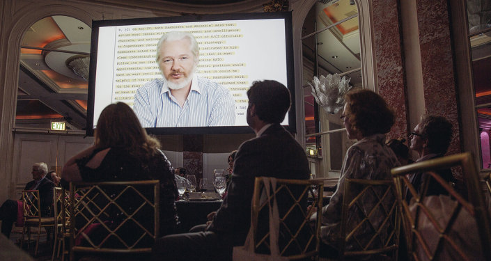 Julian Assange speaks remotely via a live feed at The 24th Annual PEN Center USA Literary Awards Festival at The Beverly Wilshire Hotel on Tuesday, Nov. 11, 2014, in Beverly Hills, Calif.