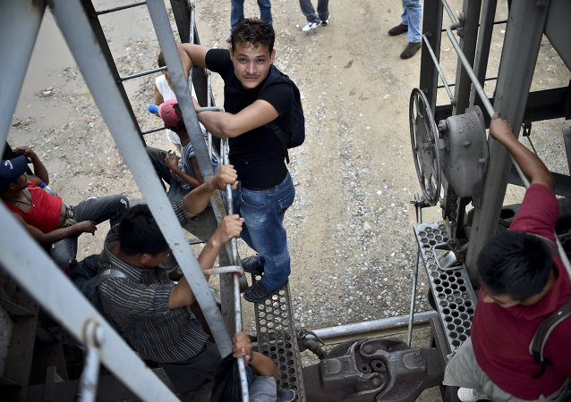 Central American migrants ride the train called The Beast in their attemp to reach the border between Mexico and The United States.