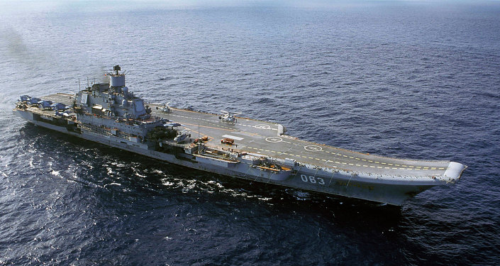 In file photo from 2004, the Russian navy's Admiral Kuznetsov carrier is seen in the Barents Sea, Russia