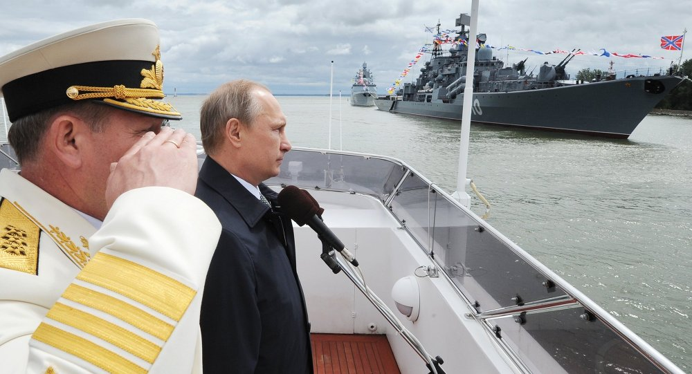 Russian President Vladimir Putin during the military parade held on the Day of the Russian Navy in the city of Baltiysk in Kaliningrad Region