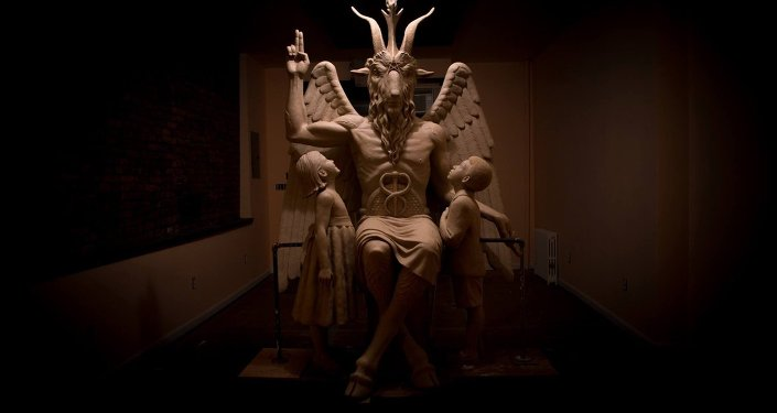 A sculpture of the Satanic god Baphomet unveiled by The Satanic Temple in Detroit, Michigan