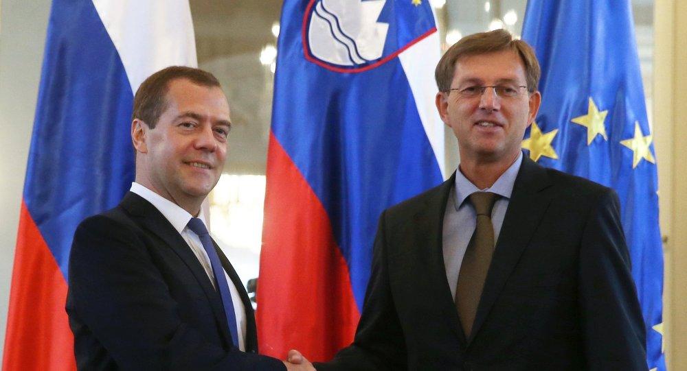 Russian Prime Minister Dmitry Medvedev visits Slovenia