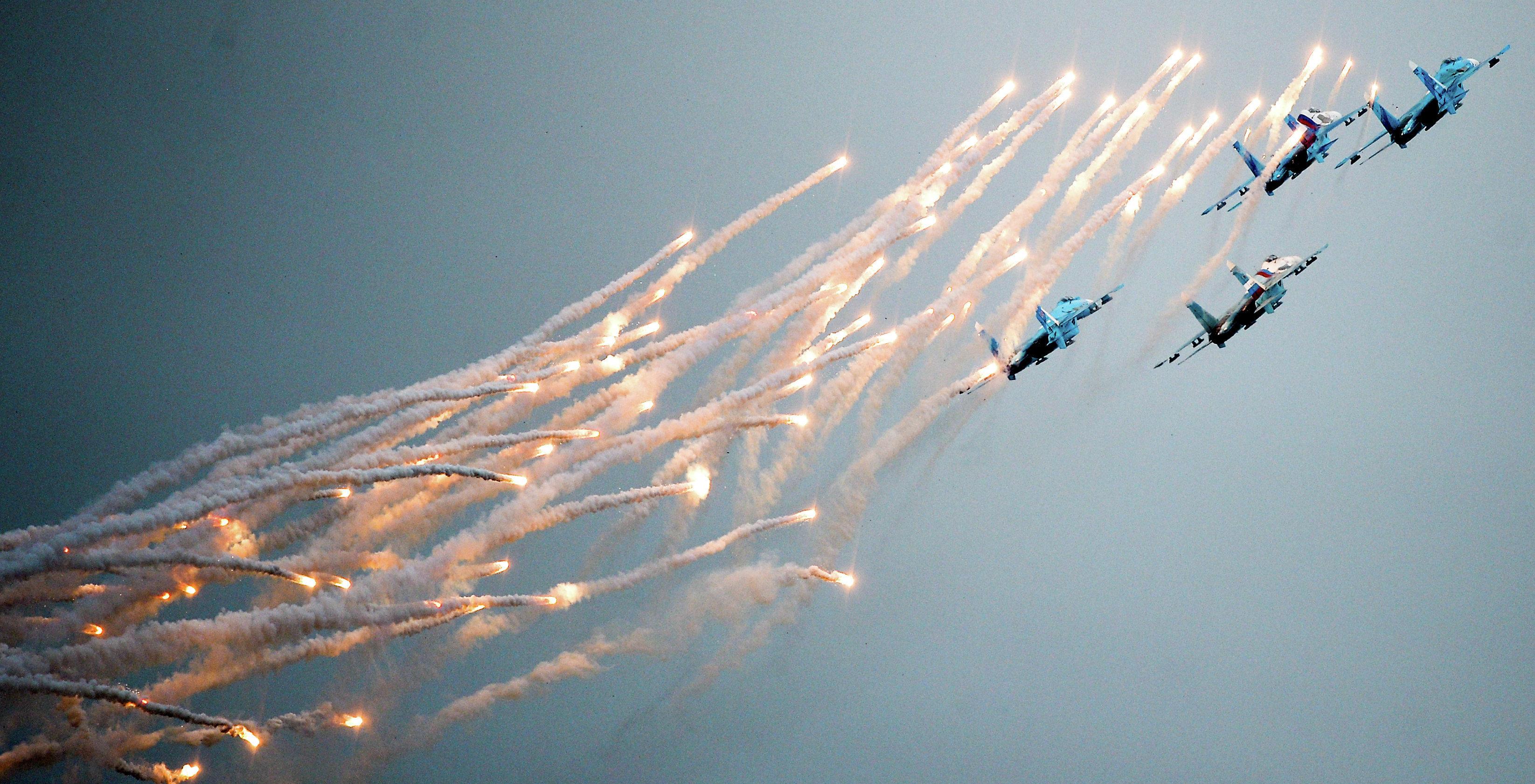 Aerobatics team Falcons of Russia flying Su-27 strike aircraft