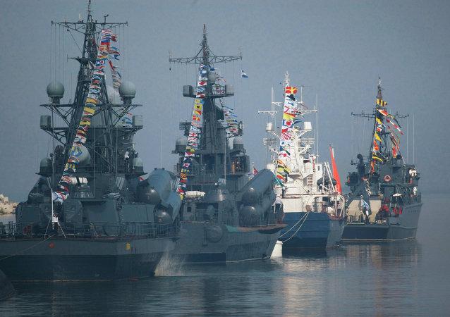 Navy Day parade rehearsal in Baltiysk