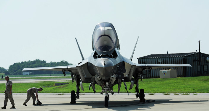 A Marine Corp F-35B Joint Strike Fighter at Patuxent River Naval Air Station, Maryland
