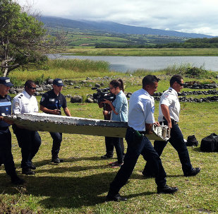 Police carry a piece of debris from an unidentified aircraft found in the coastal area of Saint-Andre de la Reunion, in the east of the French Indian Ocean island of La Reunion, on July 29, 2015