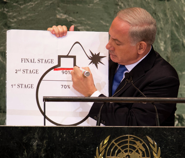 Benjamin Netanyahu, Prime Minister of Israel, uses a diagram of a bomb to describe Iran's nuclear program while delivering his address to the 67th United Nations General Assembly meeting September 27, 2012 at the United Nations in New York.